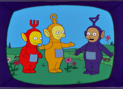 Bart , Lisa and Maggie watch the Teletubbies on TV.